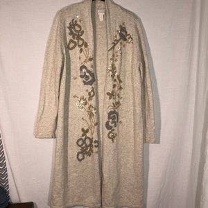 Chico's Sequin Floral Embroidered Cardigan Duster
